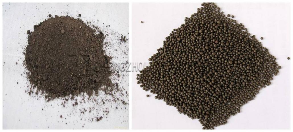 Powdery, granular organic fertilizer